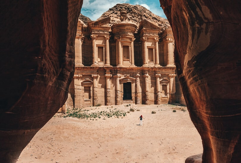 Person standing at entrance of Petra in Jordan