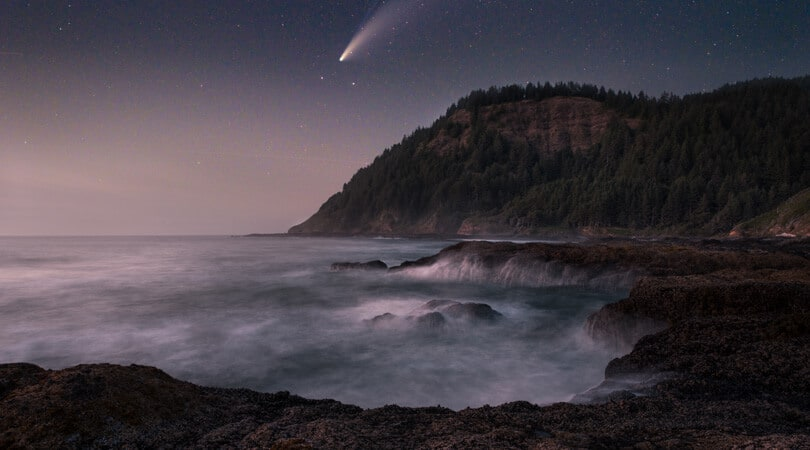 View of Thors Well in Oregon at Night