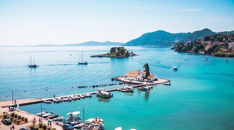 Boats and ocean at Corfu, Greece
