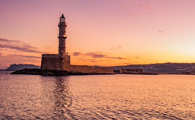 Crete Lighthouse next to ocean