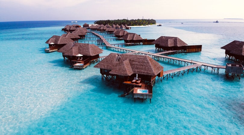 Houses on water in Maldives