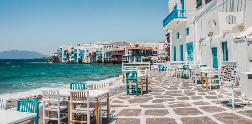 Mykonos restaurant next to ocean