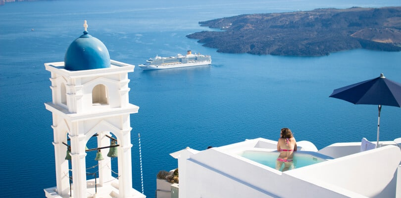 Santorini view from the Hotel with ocean and cruise in background