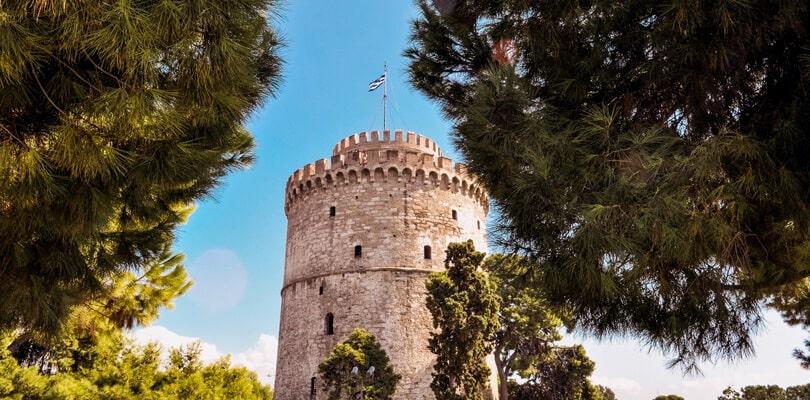 Rock made tower in Thessaloniki Greece