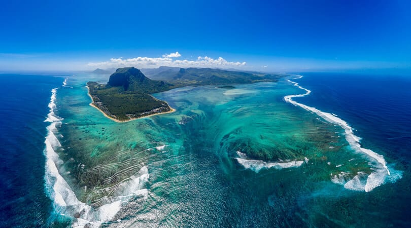 Aerial view of Mauritius