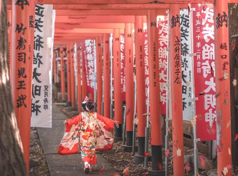 Geisha walking between poles in Japan