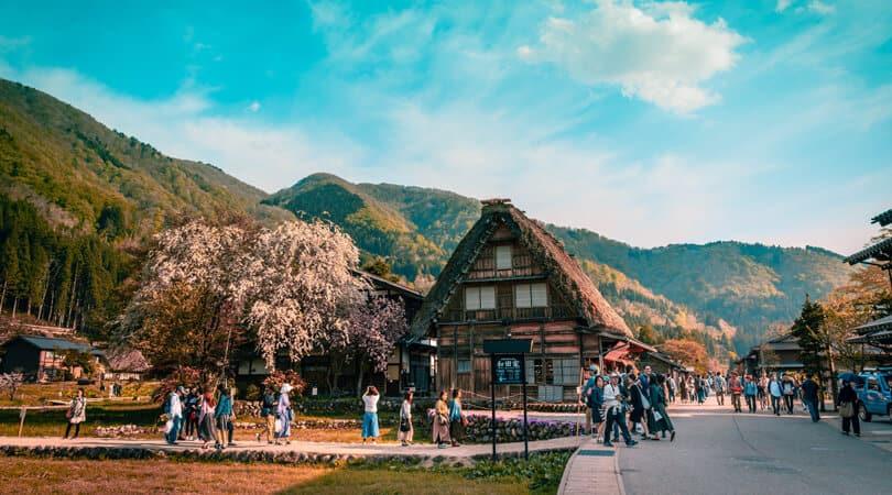 People taking pictures at Shirakawago Village