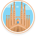 La Sagrada Familia in Barcelona Illustration