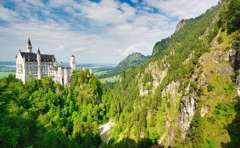 Bavaria germany castle and forrest view