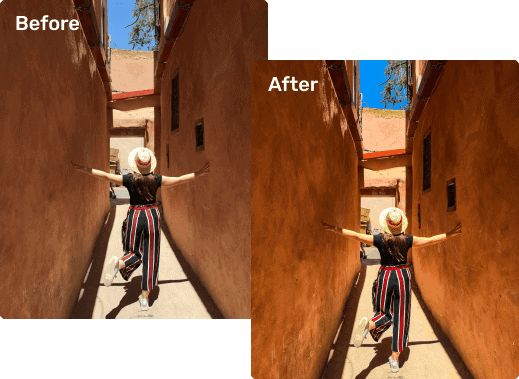 Before and after Lightroom images