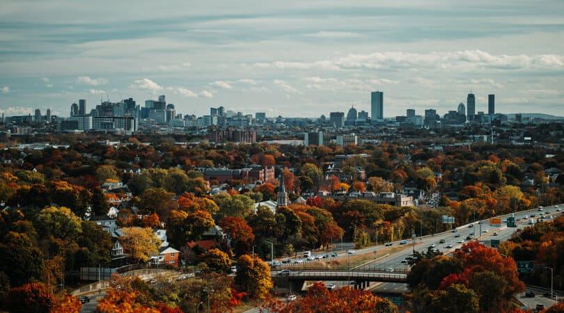 Boston skyline in Fall