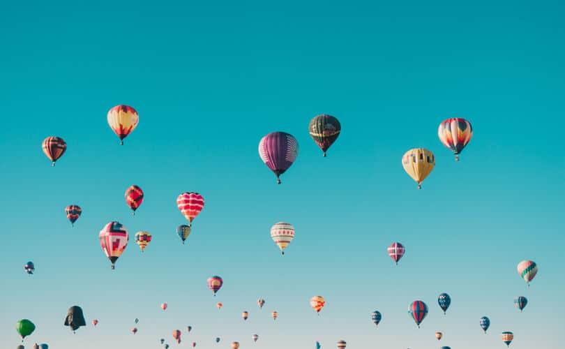 Hot balloons in sky