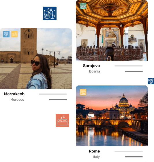 Images from various location with icons