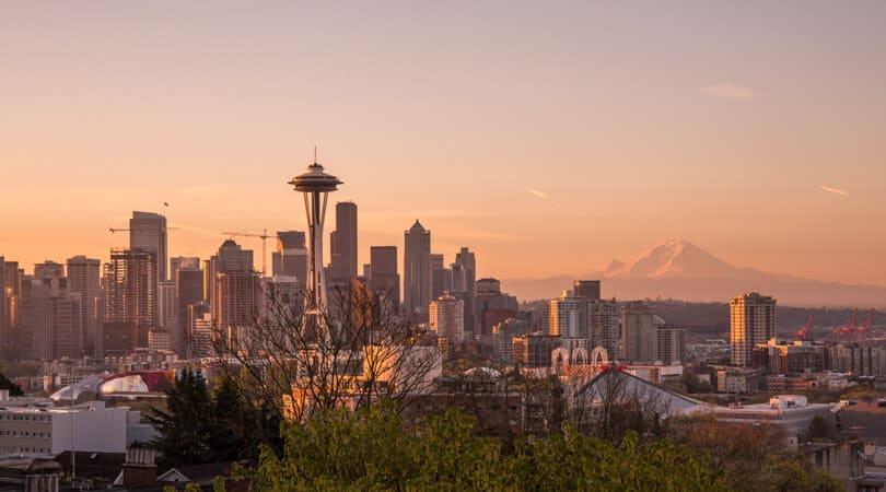 Seattle sunset Fall skyline