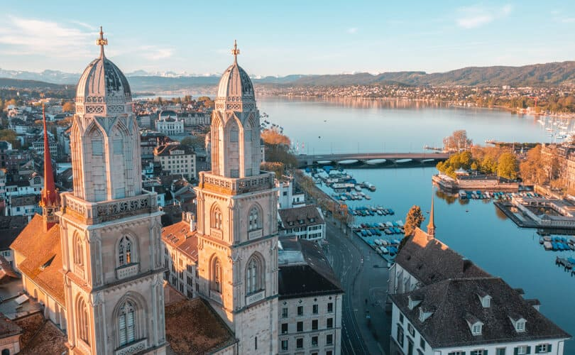 Zurich City and river view