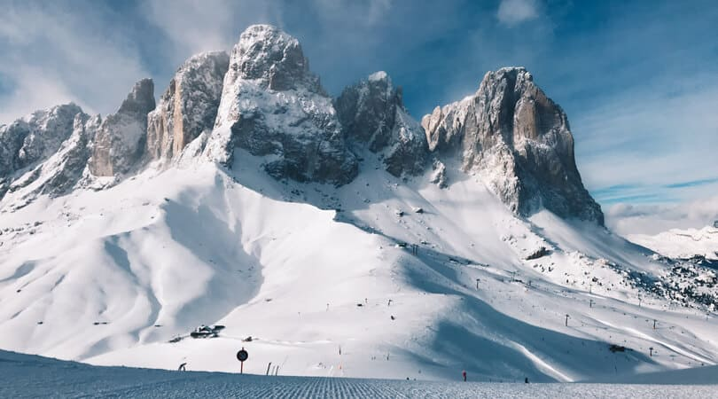 Dolomites covered with snow in Winter