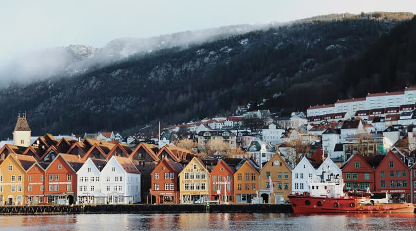 Houses next to river in Bergen, Norway