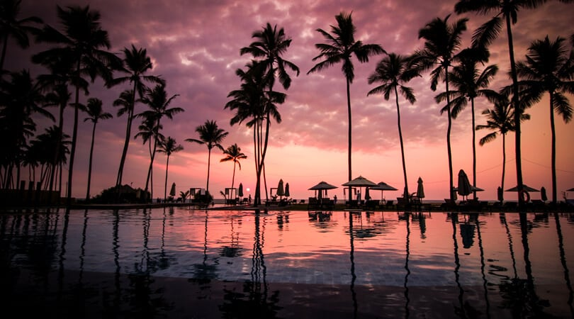Sri Lanka Beach resort at Sunset