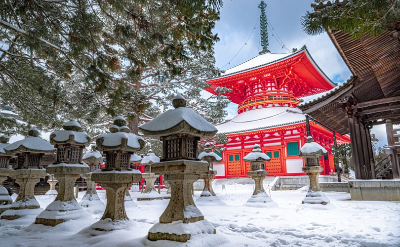 Temple in Tokyo covered with snow