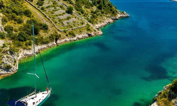 Boat going to open sea in Croatia