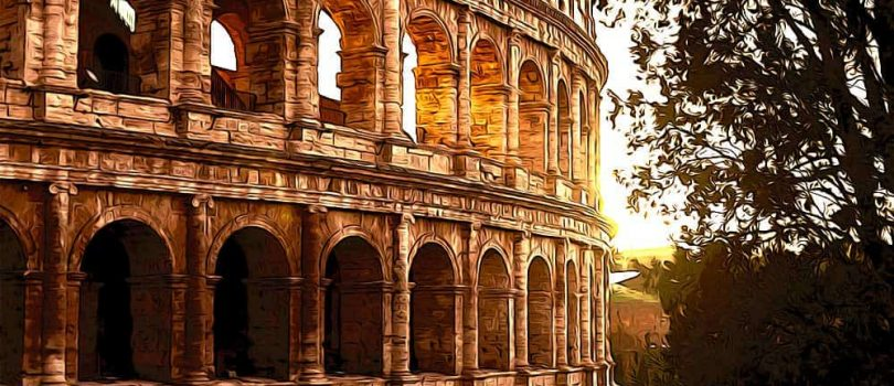 Rome colosseum in a paint format