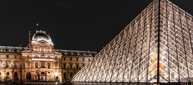 Louvre museum at night in Paris
