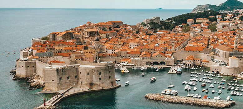 View of old walls in Dubrovnik