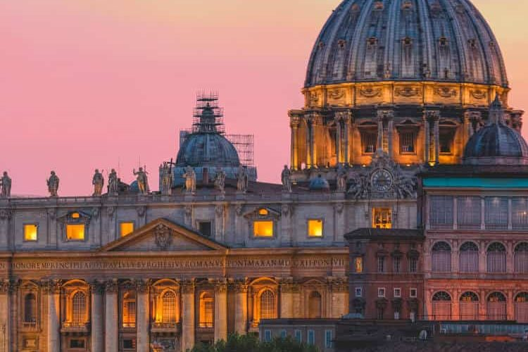 Sunset view of Saint peters basilica in Vatican city