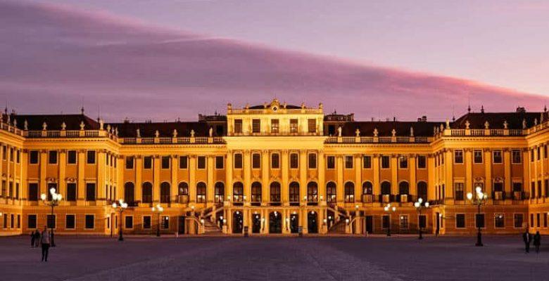 Purple skies over Schonbrunn palace in Vienna