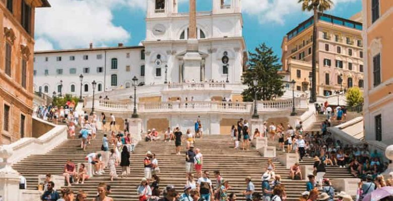 People taking pictures at Spanish steps in Rome