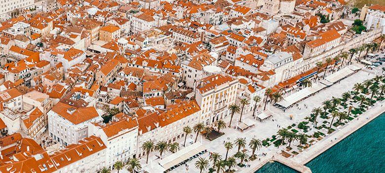 Aerial view of Riva in Split