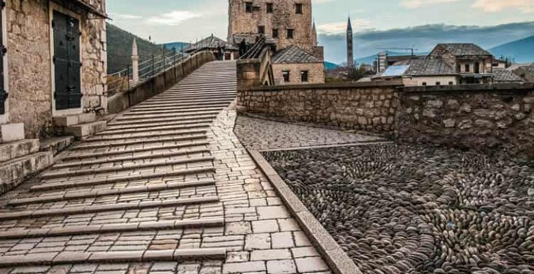 Stairs leading to Old bridge in Mostar