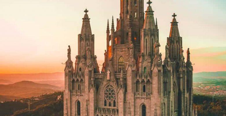 Barcelona church at sunset